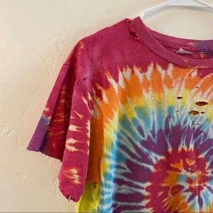 Vintage Tops - Vintage Distressed Pink Tie Dye Tee Shirt XL